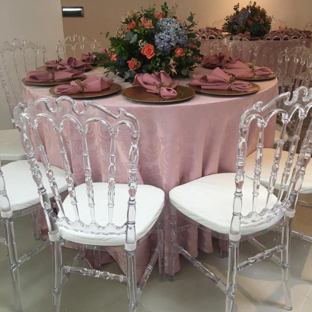 Detalhes do produto Conjunto de mesa redonda com 10 cadeira Tiffany cristal