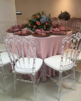 Conjunto de mesa redonda com 10 cadeira Tiffany cristal