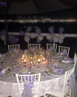 Conjunto de mesa redonda com 10 cadeira Tiffany branca