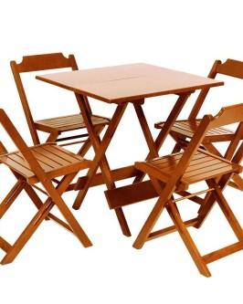 Conjunto de mesa quadrada de madeira 70X70