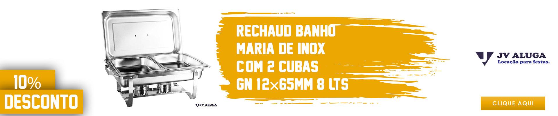 Rechaud Banho-maria De Inox C/ 2 Cubas (gn 1/2×65mm) - 8 Lts