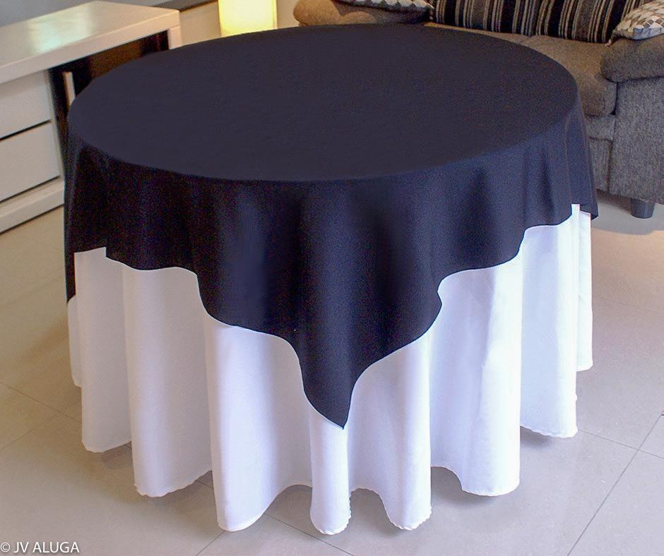 Detalhes do produto Aluguel de toalha redonda branca com cobre mancha preta