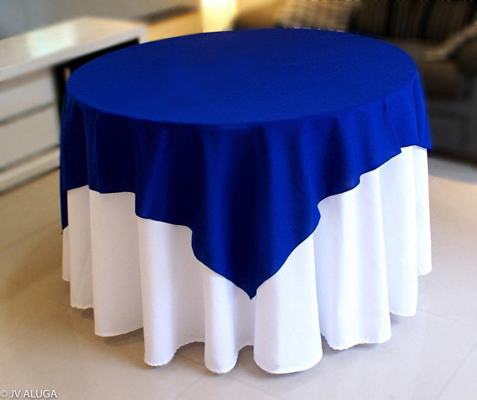 Detalhes do produto Aluguel de toalha redonda branca com cobre mancha Azul
