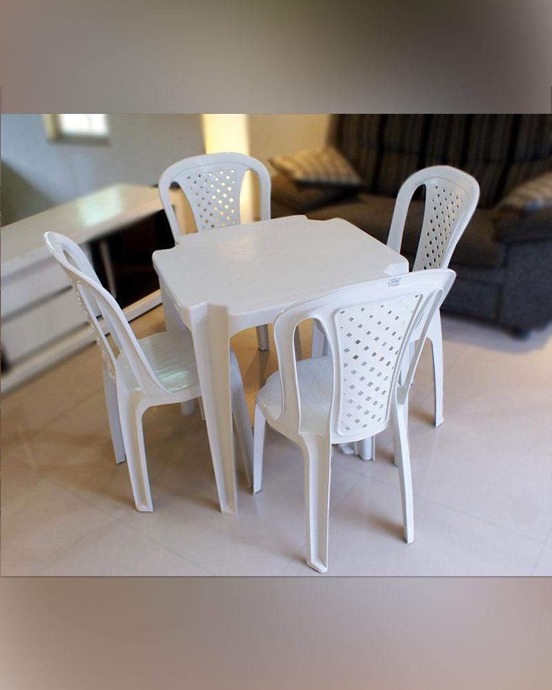 Detalhes do produto Conjunto de mesa e Cadeiras de plástico (PVC)